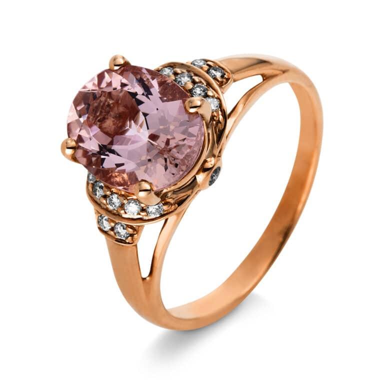 10 kt vörös arany színes drágakő 16 gyémánttal