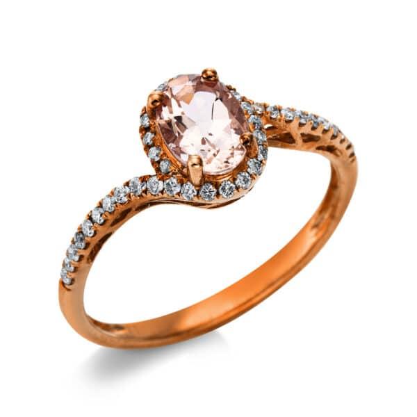 10 kt vörös arany színes drágakő 40 gyémánttal