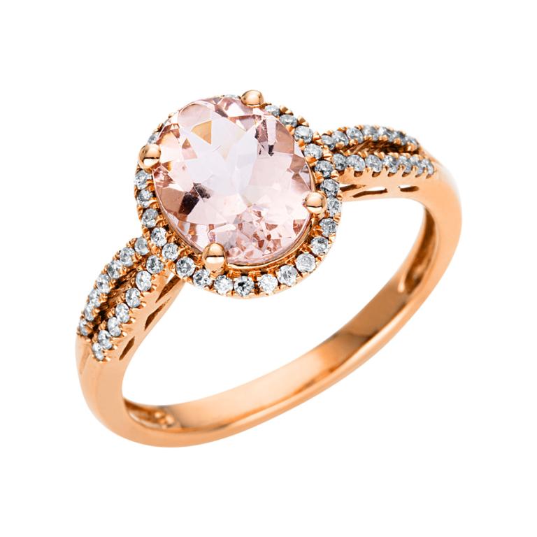 10 kt vörös arany színes drágakő 56 gyémánttal