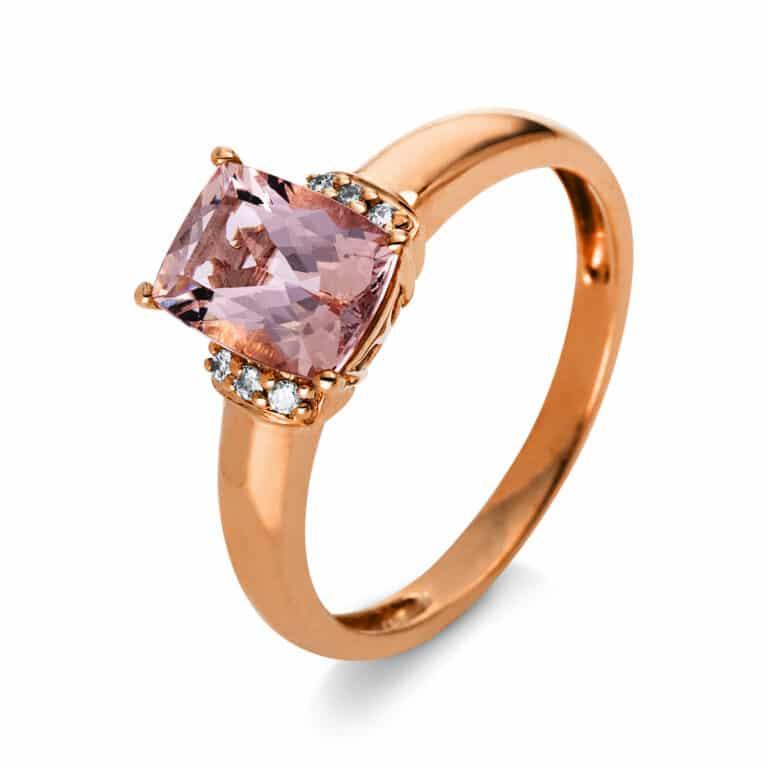 10 kt vörös arany színes drágakő 6 gyémánttal