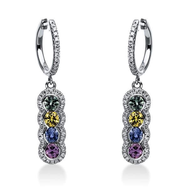 14 kt fehérarany fülbevaló 104 gyémánttal