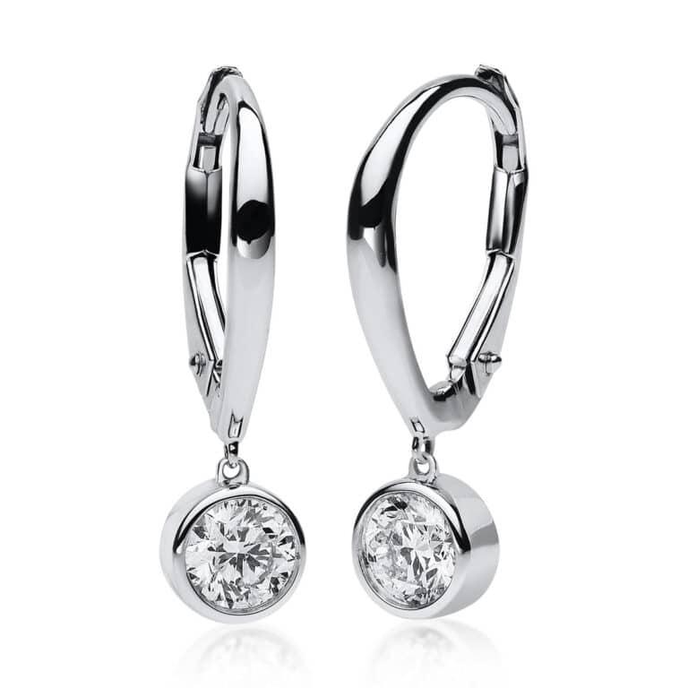 14 kt fehérarany fülbevaló 2 gyémánttal 2B649W4-1