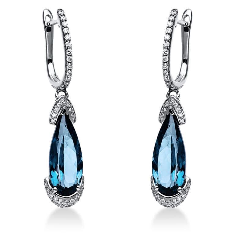 14 kt fehérarany fülbevaló 76 gyémánttal