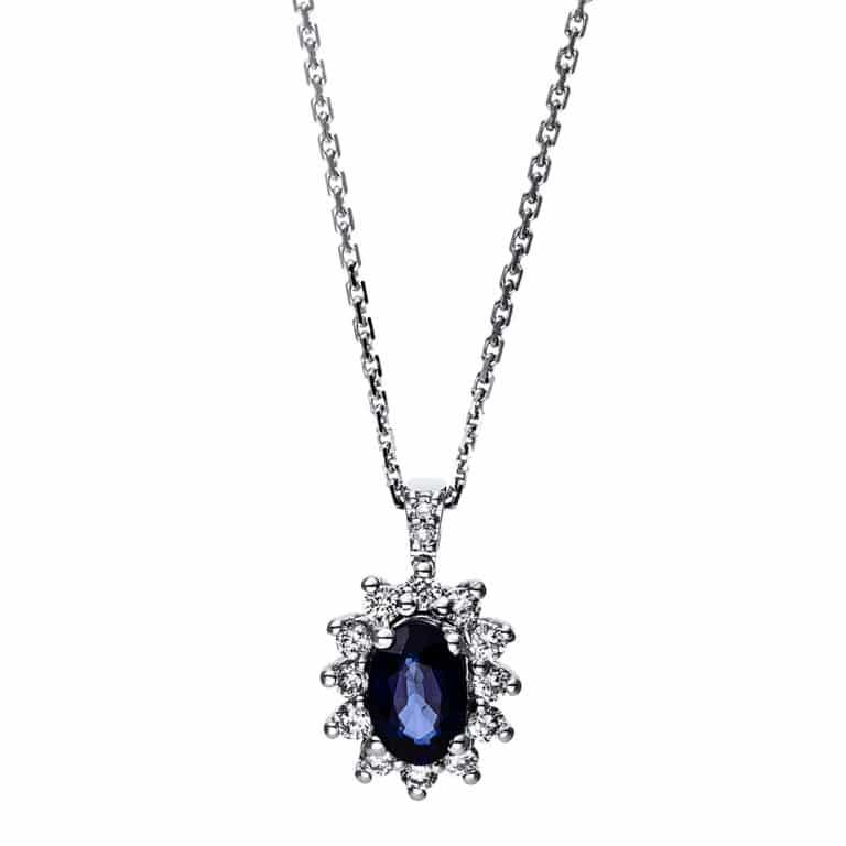 14 kt fehérarany nyaklánc 14 gyémánttal