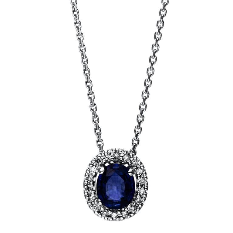 14 kt fehérarany nyaklánc 18 gyémánttal