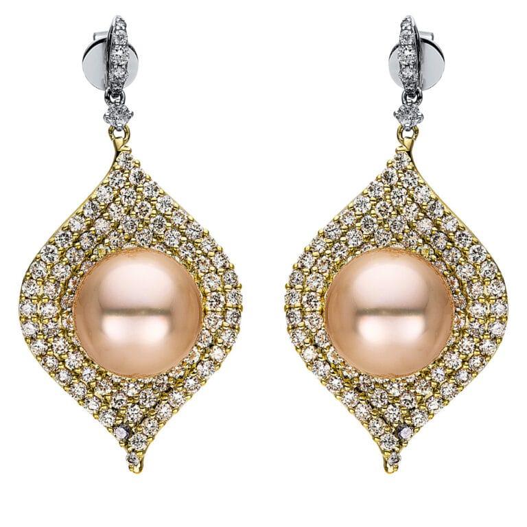 14 kt fehérarany / sárga arany fülbevaló 190 gyémánttal