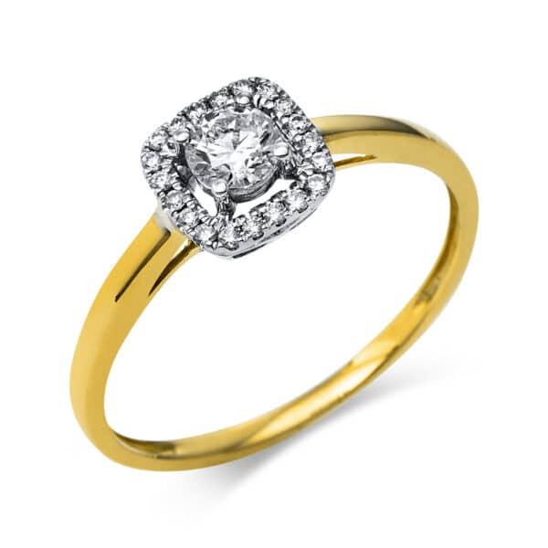 14 kt fehérarany / sárga arany szoliter oldalkövekkel 21 gyémánttal 1R336WG454-2