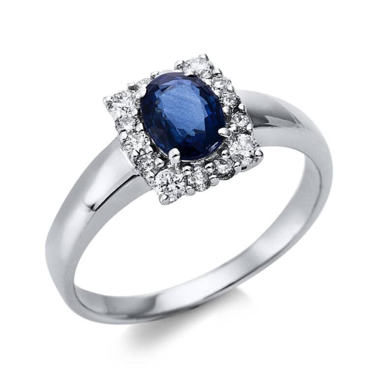 14 kt fehérarany színes drágakő 14 gyémánttal