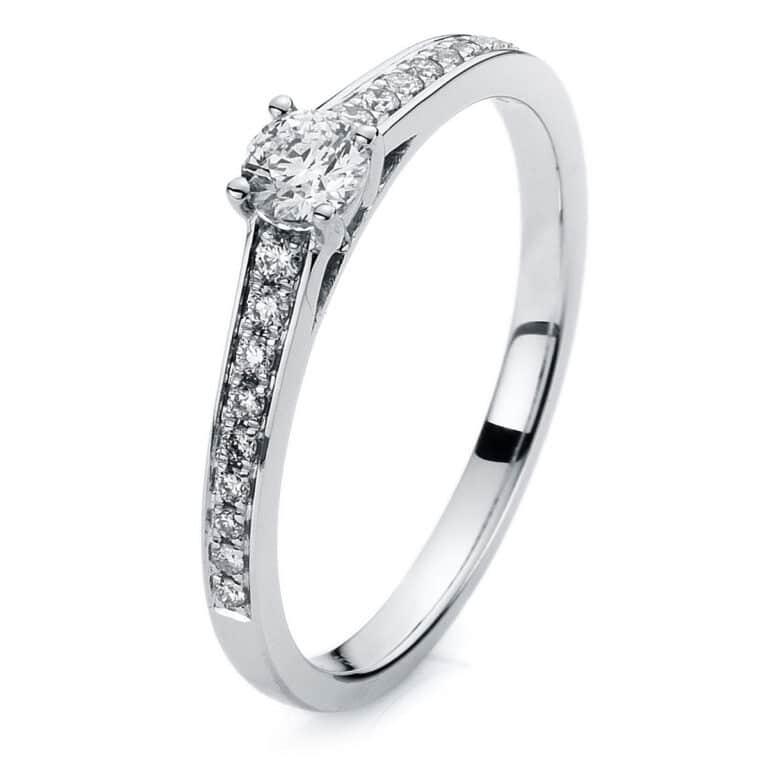 14 kt fehérarany több köves gyűrű 19 gyémánttal 1A324W454-5
