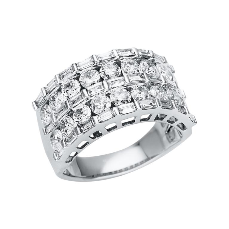 14 kt fehérarany több köves gyűrű 45 gyémánttal 1U351W454-1