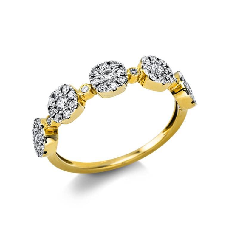 14 kt sárga arany több köves gyűrű 49 gyémánttal 1V750G454-1