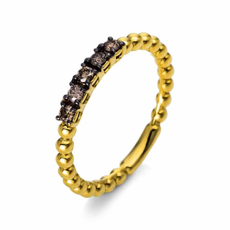 14 kt sárga arany több köves gyűrű 5 gyémánttal 1N698G453-1