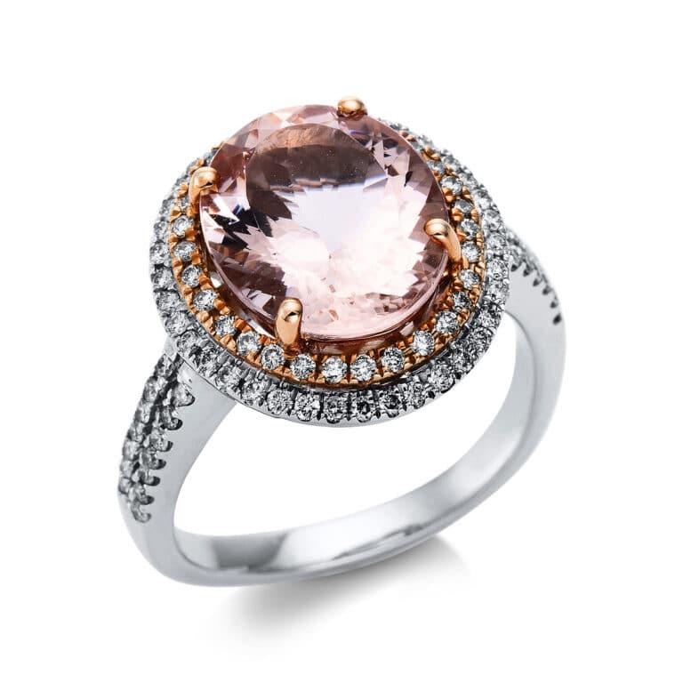 14 kt  színes drágakő 96 gyémánttal