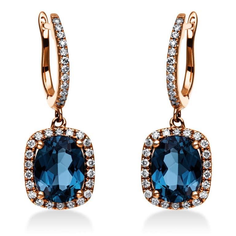 14 kt vörös arany fülbevaló 68 gyémánttal