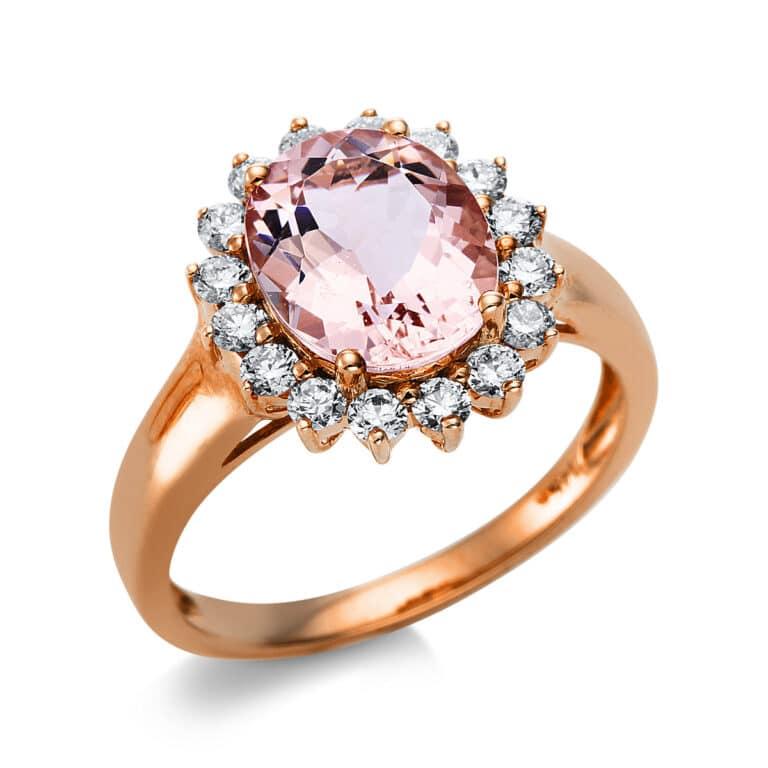 14 kt vörös arany színes drágakő 16 gyémánttal