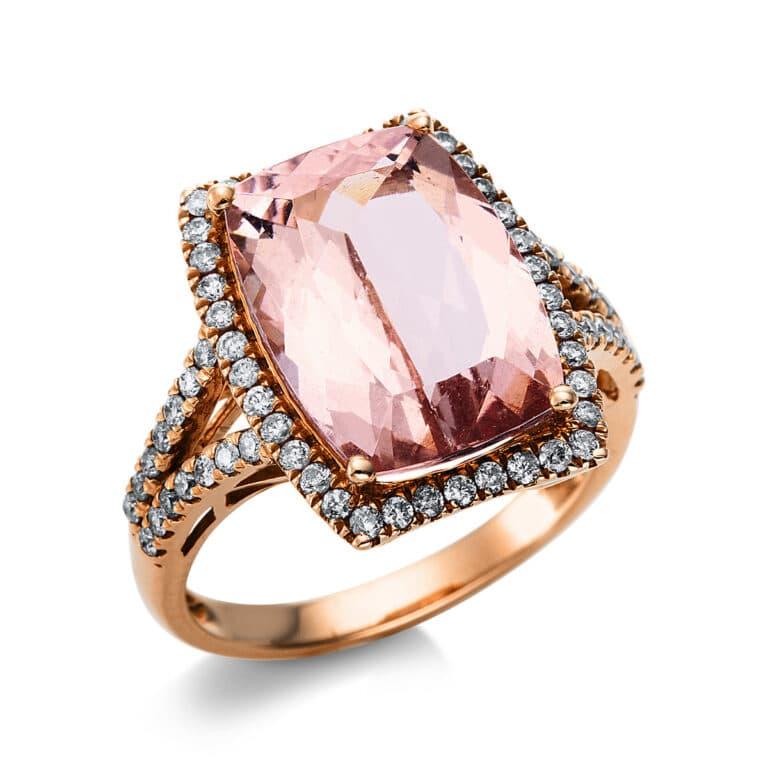 14 kt vörös arany színes drágakő 66 gyémánttal