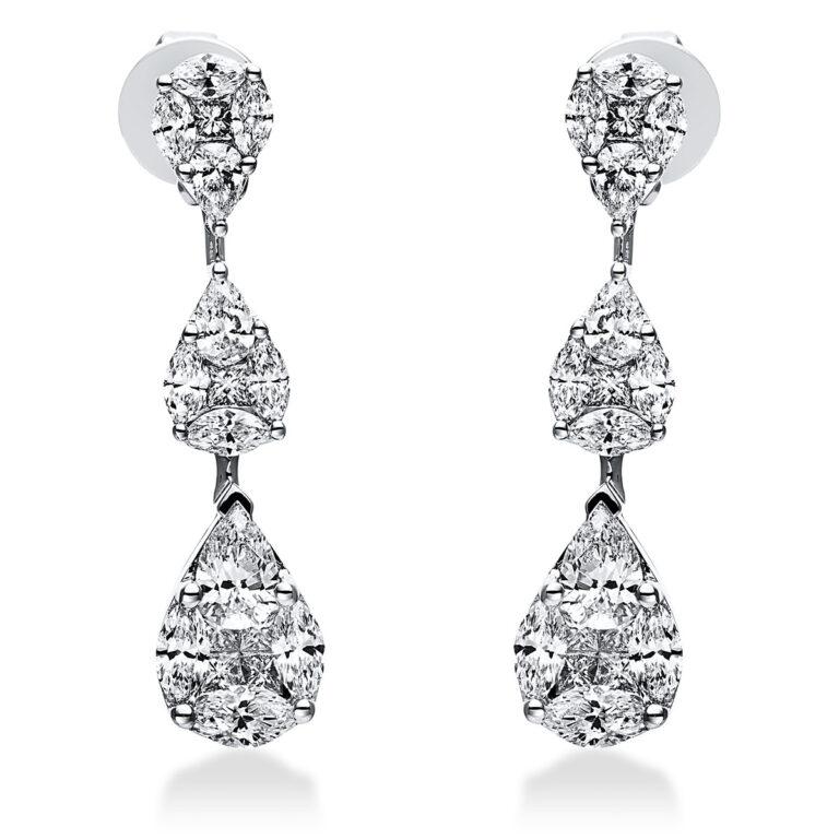 18 kt fehérarany fülbevaló 36 gyémánttal 2J638W8-1