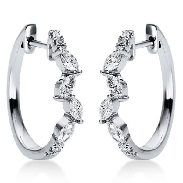 18 kt fehérarany karika és huggie 20 gyémánttal 2J262W8-1