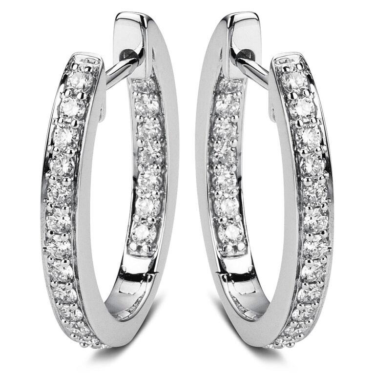 18 kt fehérarany karika és huggie 40 gyémánttal 2A602W8-3