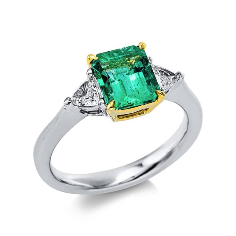 18 kt fehérarany / sárga arany színes drágakő 2 gyémánttal
