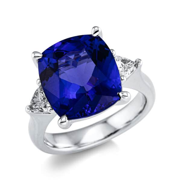 18 kt fehérarany színes drágakő 2 gyémánttal