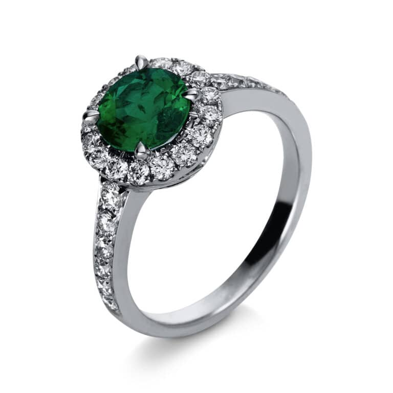 18 kt fehérarany színes drágakő 28 gyémánttal