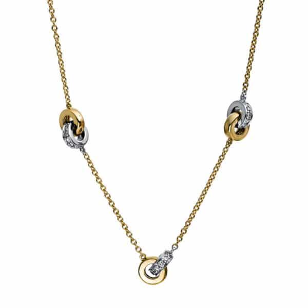 18 kt sárga arany / fehérarany nyaklánc 55 gyémánttal 4E006GW8-8