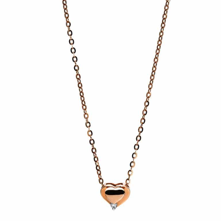18 kt vörös arany nyaklánc 1 gyémánttal 4F801R8-1