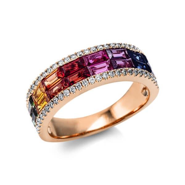 18 kt vörös arany színes drágakő 58 gyémánttal