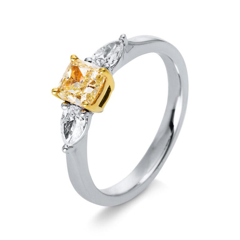 18 kt fehérarany / sárga arany szoliter oldalkövekkel 3 gyémánttal 1M890WG854-2