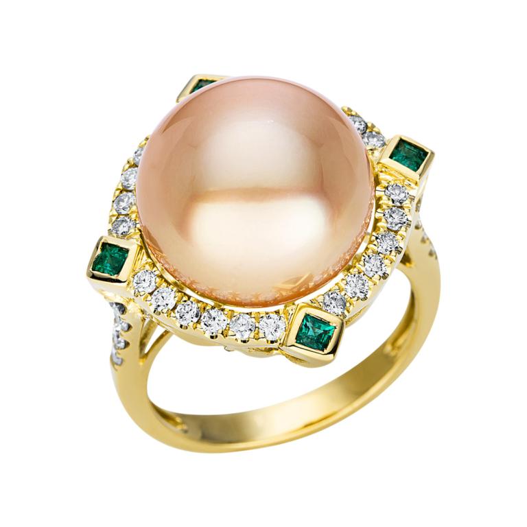 18 kt sárga arany gyöngy 36 gyémánttal