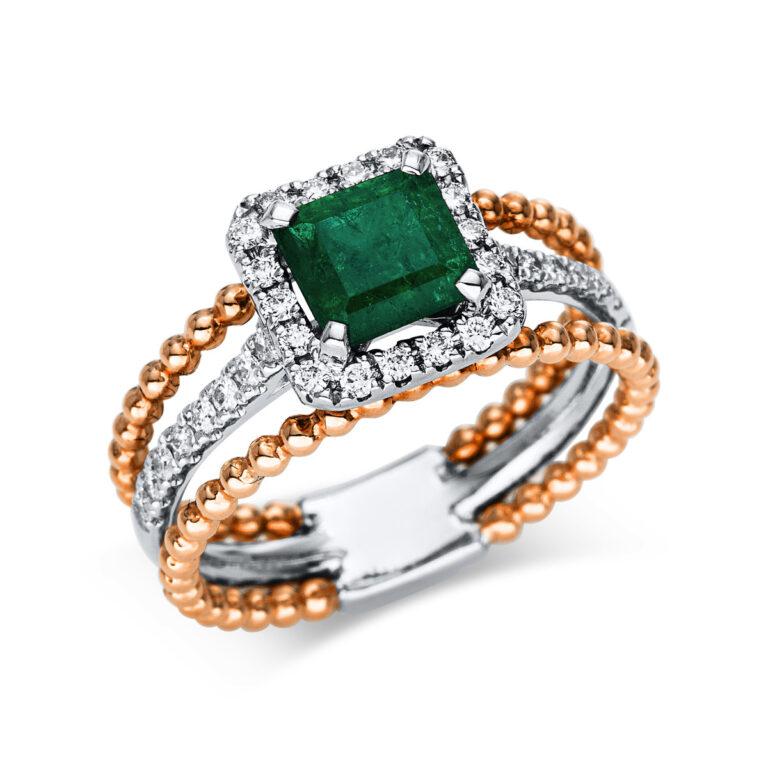 18 kt  színes drágakő 34 gyémánttal