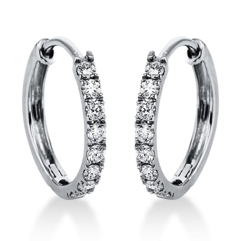 14 kt fehérarany karika és huggie 16 gyémánttal 2J821W4-1