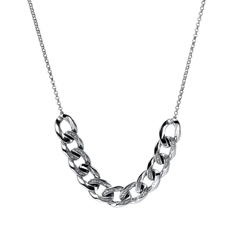 14 kt fehérarany nyaklánc 28 gyémánttal 4G062W4-1