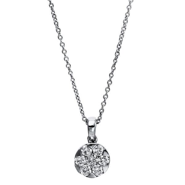 14 kt fehérarany nyaklánc 7 gyémánttal 4G024W4-1