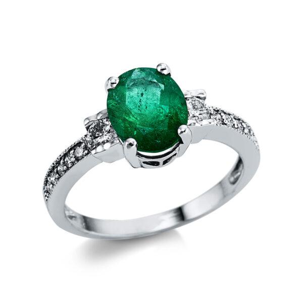 14 kt fehérarany színes drágakő 12 gyémánttal