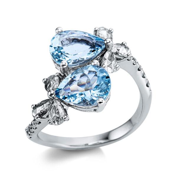14 kt fehérarany színes drágakő 16 gyémánttal