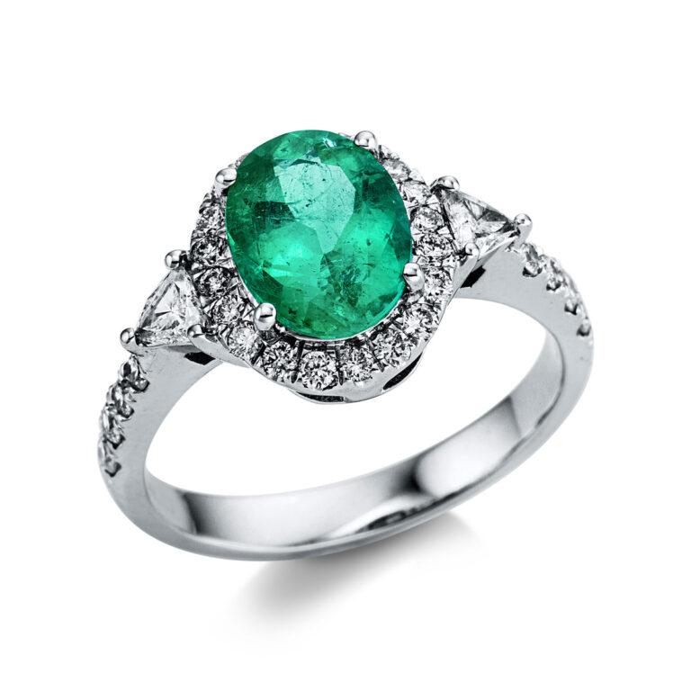 14 kt fehérarany színes drágakő 30 gyémánttal