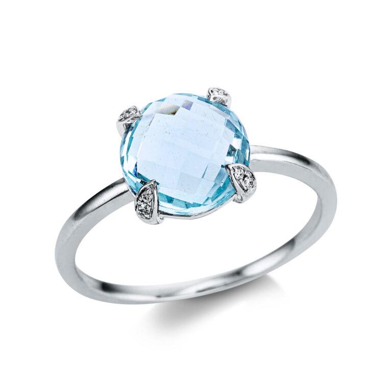 14 kt fehérarany színes drágakő 8 gyémánttal