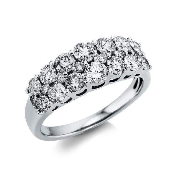 14 kt fehérarany több köves gyűrű 22 gyémánttal 1X034W454-1