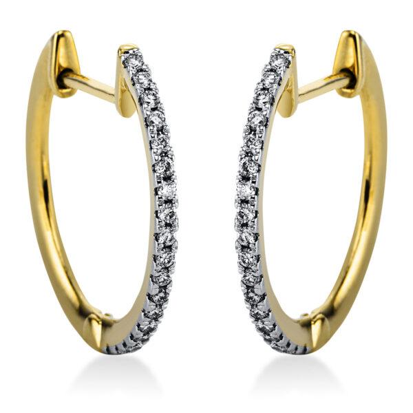 14 kt sárga arany / fehérarany karika és huggie 36 gyémánttal 2J815GW4-1