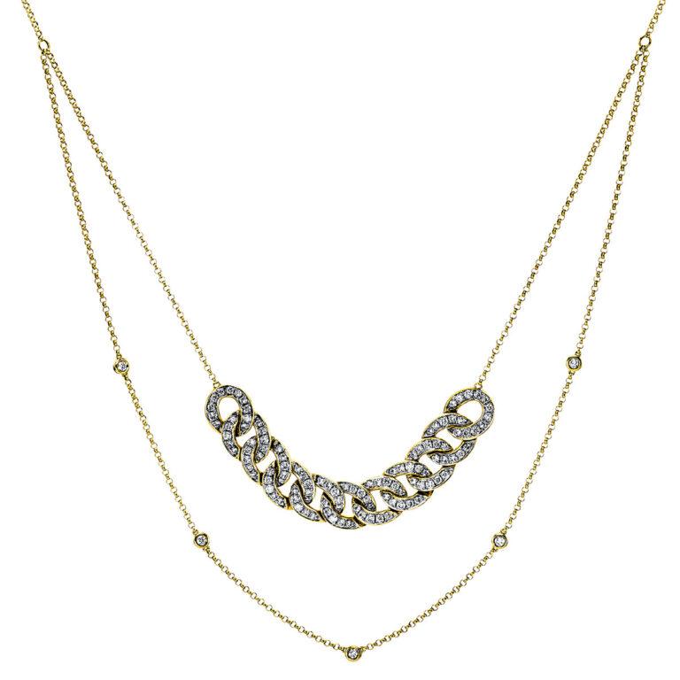 14 kt sárga arany / fehérarany nyaklánc 117 gyémánttal 4G063GW4-1