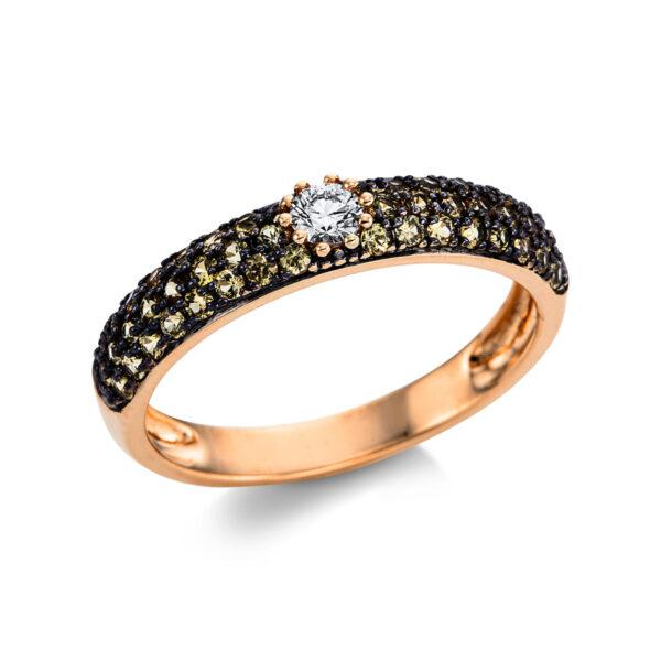 14 kt vörös arany színes drágakő 1 gyémánttal