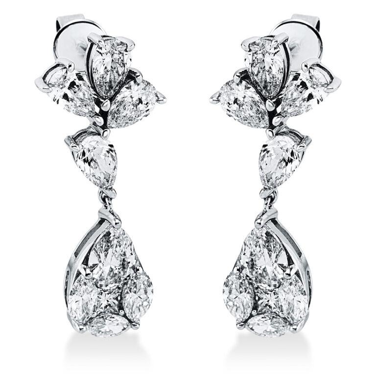 18 kt fehérarany fülbevaló 18 gyémánttal 2K267W8-1