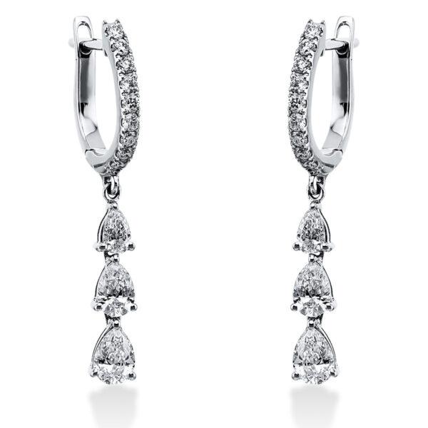 18 kt fehérarany fülbevaló 24 gyémánttal 2J993W8-1