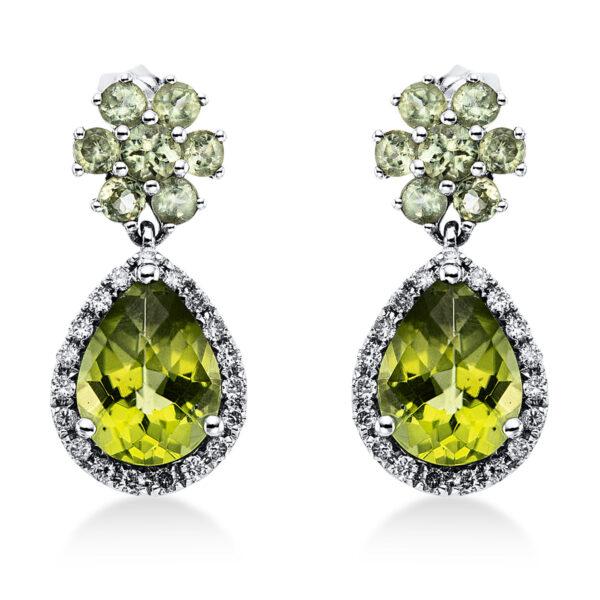 18 kt fehérarany fülbevaló 36 gyémánttal