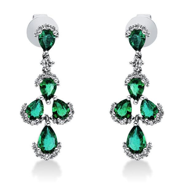 18 kt fehérarany fülbevaló 52 gyémánttal