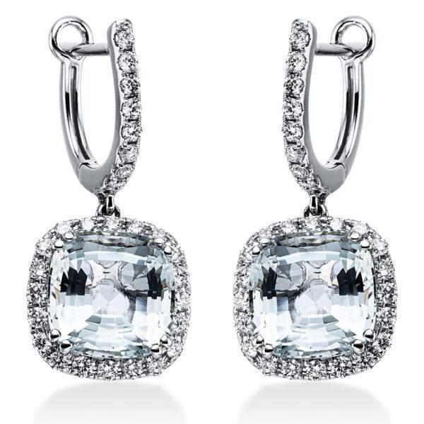 18 kt fehérarany fülbevaló 56 gyémánttal
