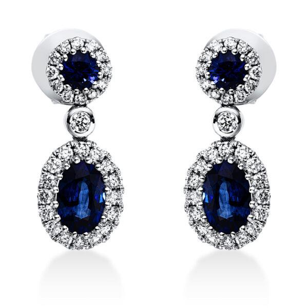 18 kt fehérarany fülbevaló 58 gyémánttal