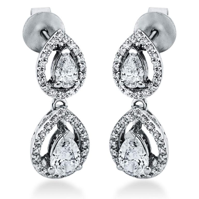 18 kt fehérarany fülbevaló 80 gyémánttal 2K280W8-1